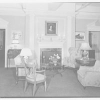 Manor House, residence at 383 Madison Ave., New York City. Living room fireplace set up I, lighting