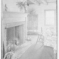 Mr. and Mrs. Allmon Fordyce, residence in Glen Gardner, New Jersey. Living room fireplace, sharp