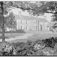 Mrs. Albert W. Sherer, residence on Round Hill Rd., Greenwich, Connecticut. Rear view from behind wall