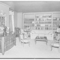 Mrs. Walter Z. Shafer, residence at 277 Park Ave., New York City. Living room, to books