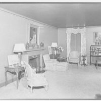 Mrs. Walter Z. Shafer, residence at 277 Park Ave., New York City. Living room, to fireplace