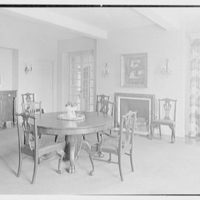 Rush Sturges, residence in Wakefield, Rhode Island. Dining room, to fireplace