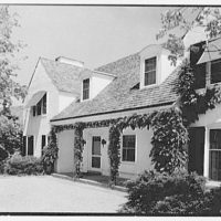 Stanley R. Miller, residence on E. Middle Patent Lane, Greenwich, Connecticut. Entrance facade, sharp