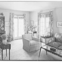 Stanley R. Miller, residence on E. Middle Patent Lane, Greenwich, Connecticut. Living room, to sofa
