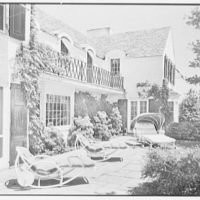 Stanley R. Miller, residence on E. Middle Patent Lane, Greenwich, Connecticut. Rear terrace II