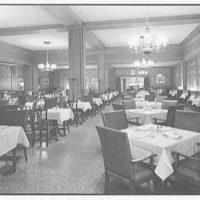 Stouffer's restaurant, E. 42nd St., New York City. Grille Room, to London Room, dinner set-up