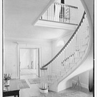 Sumner T. McCall, residence on Bayberry Lane, Greenwich, Connecticut. Stair hall, to dining room