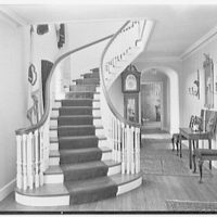 Sumner T. McCall, residence on Bayberry Lane, Greenwich, Connecticut. Stair hall to library