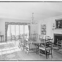 William C. Esty, residence on Oenoke Ave., New Canaan, Connecticut. Dining room, to windows