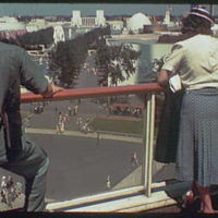 World's Fair. Figures at trylon and perisphere railing looking toward Washington Square