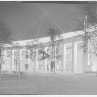World's Fair, Home Furnishing Building, at night. General entrance, from right, at night