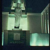 World's Fair. Italian Pavilion at night, detail of Marconi monument