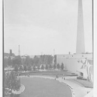 World's Fair, Medicine and Public Health Building. Spiral gardens, general view from Trylon roof