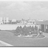 World's Fair, Medicine and Public Health Building. Spiral gardens, view to restaurant