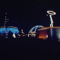 World's Fair. Night view of Petroleum Industry Exhibition, United States Steel Subsidiaries Building and General Electric Company Building