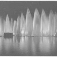 World's Fair night views. Lagoon pool water fountain display