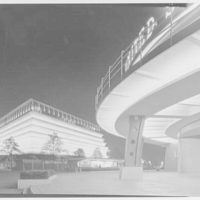 World's Fair night views. U.S. Steel and reflections, overhang, and Petroleum Building