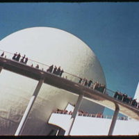 World's Fair. Oblique view of helicline, trylon and perisphere