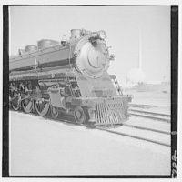 World's Fair, railroad exhibit. B & O 5600 and trylon and perisphere