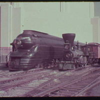 World's Fair, railroad exhibit. Historic locomotives at Court of Railways
