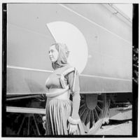 World's Fair, railroad pageant. Woman of the future from the cast of Railroads on Parade