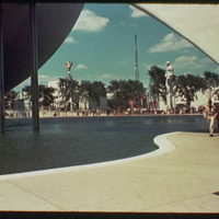 World's Fair. View from trylon and perisphere toward AT&T Building from ground level