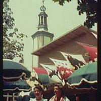 World's Fair. Women in costume near Swiss Pavilion