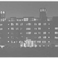 Albion Hotel, Lincoln Rd., Miami Beach, Florida. East facade, night view