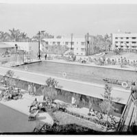 Albion Hotel, Lincoln Rd., Miami Beach, Florida. Looking down on pool and patio I