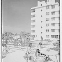 Albion Hotel, Lincoln Rd., Miami Beach, Florida. Sand beach and hotel I
