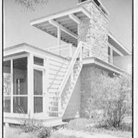 Bertram F. Willcox, residence in Pound Ridge, New York. Detail of outside stairs to upper deck