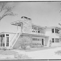 Bertram F. Willcox, residence in Pound Ridge, New York. Entrance facade from left
