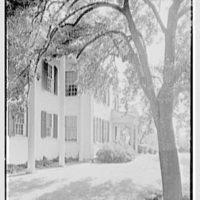 Charles L. Stillman, residence on Hall's Farm Rd., Fairfield, Connecticut. Entrance facade, sharp, from left