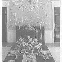 Charles S. Davis, residence at 850 Lake Trail, Palm Beach, Florida. Dining room table detail