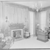 Charles S. Davis, residence at 850 Lake Trail, Palm Beach, Florida. Library, to fireplace