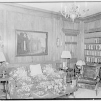 Charles S. Davis, residence at 850 Lake Trail, Palm Beach, Florida. Library, to sofa