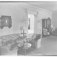 Charles S. Davis, residence at 850 Lake Trail, Palm Beach, Florida. Living room side wall