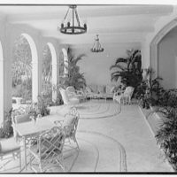 Charles S. Davis, residence at 850 Lake Trail, Palm Beach, Florida. Loggia from library