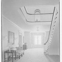 Charles S. Davis, residence at 850 Lake Trail, Palm Beach, Florida. Stair hall, to lake