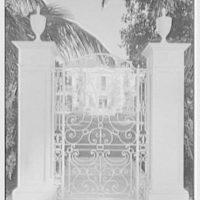 Charles S. Davis, residence in Palm Beach, Florida. Lake facade through Lake Trail gate, closed