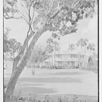 Charles S. Payson, residence in Hobe Sound, Florida. Entrance facade under tree, vertical