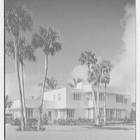 Charles S. Payson, residence in Hobe Sound, Florida. Entrance facade, vertical, windows closed