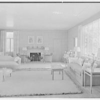 Charles S. Payson, residence in Hobe Sound, Florida. Living room, to fireplace