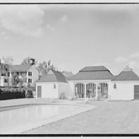 C.J. LaRoche, residence in Fairfield, Connecticut. Pool pavilion and house I