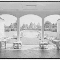 C.J. LaRoche, residence in Fairfield, Connecticut. Pool pavilion, looking out