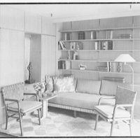 Collier's House at PEDAC, New York City. Bookshelves and couch