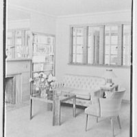 Dr. Harry Bloch, residence at 613 N. Broad St., Elizabeth, New Jersey. Living room fireplace group, vertical