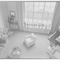 Ellen Ballon, residence at 2 W. 67th St., New York City. Down shot on living room from balcony