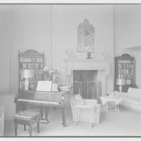 Ellen Ballon, residence at 2 W. 67th St., New York City. Living room fireplace and piano, horizontal