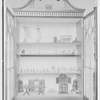 Ellen Ballon, residence at 2 W. 67th St., New York City. Living room, miniature collection in secretary
